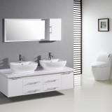 Minimalist Double Sink Grey Wall Modern Bathroom Toilet Cabinet Design White Vanity